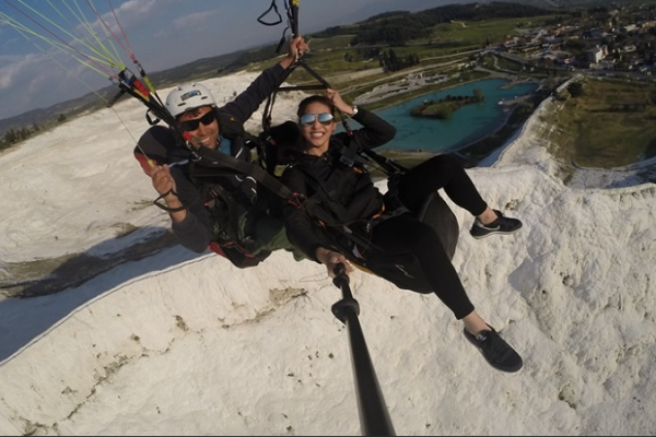 paragliding jump in pamukkale from sarigerme